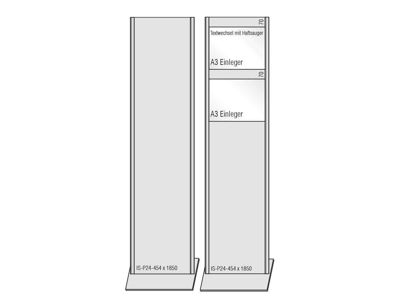"""PLANO """"Infostele"""" 454 x 1850 mm (BxH)_ silber E6/EV1"""