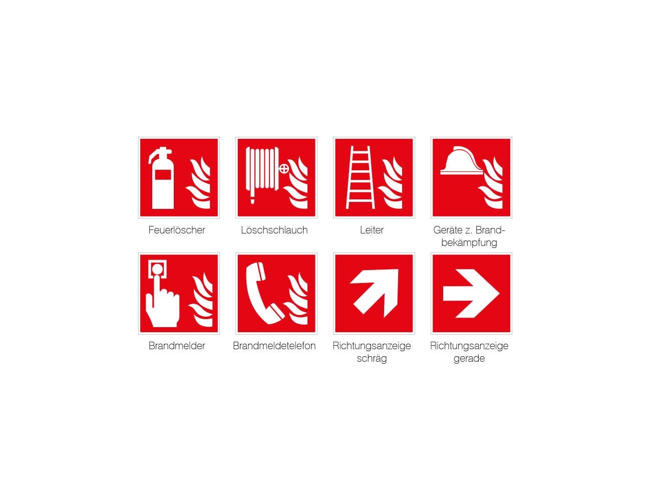 Brandschutzkennzeichen Folie weiß - 148 x 148 mm