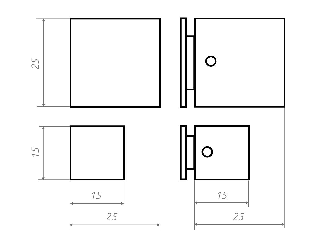 Zeichnung Wandhalter wq15.15, wq25.25