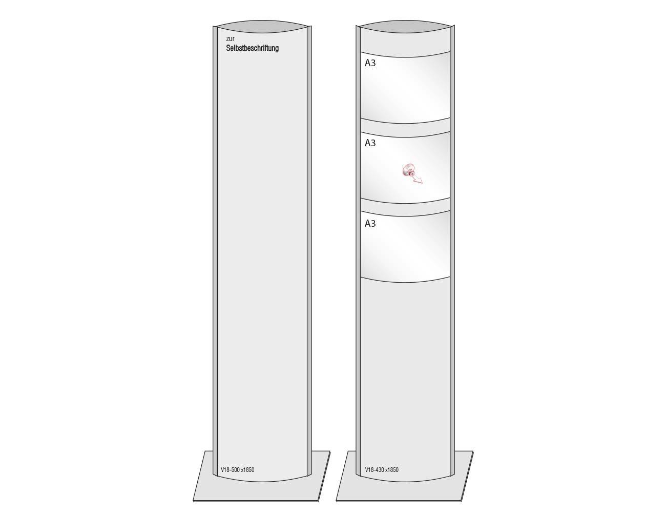 """VEXO """"Infostele mit 2x A3 Einlegern"""", V18-430 x 1500 mm"""