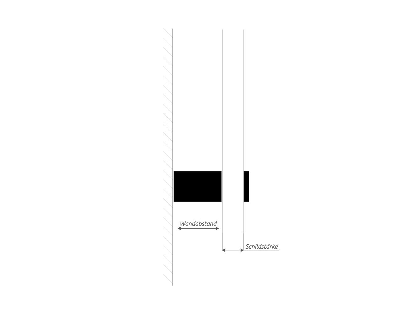 Bemaßung Wandhalter wq15.15, wq25.25