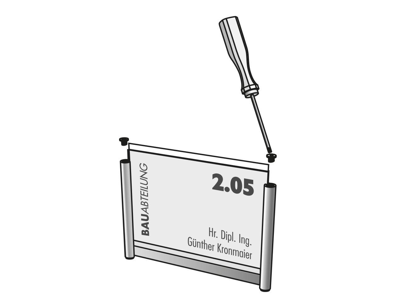 Türschild PLANO - Textwechsel