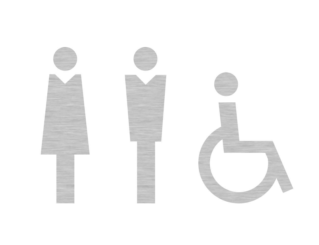 WC Piktogramme - Variante 1  - Dame/Herr/Rollstuhl